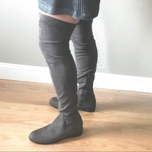 NEW over knee boot flat faux suede gray 7.5 lace